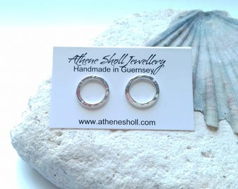 Textured Open Circle Stud Sterling Silver Earrings