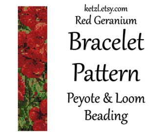 Peyote Stitch and Loom Beading Bracelet Pattern Red Geranium Flowers with Word Chart Bead Weaving Graph