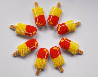Red and yellow cross stitch brooches. Ice-cream sticks pin. Summer Party favors. Funny birthday gift. Kawaii . Gift under 15euros (1pc)
