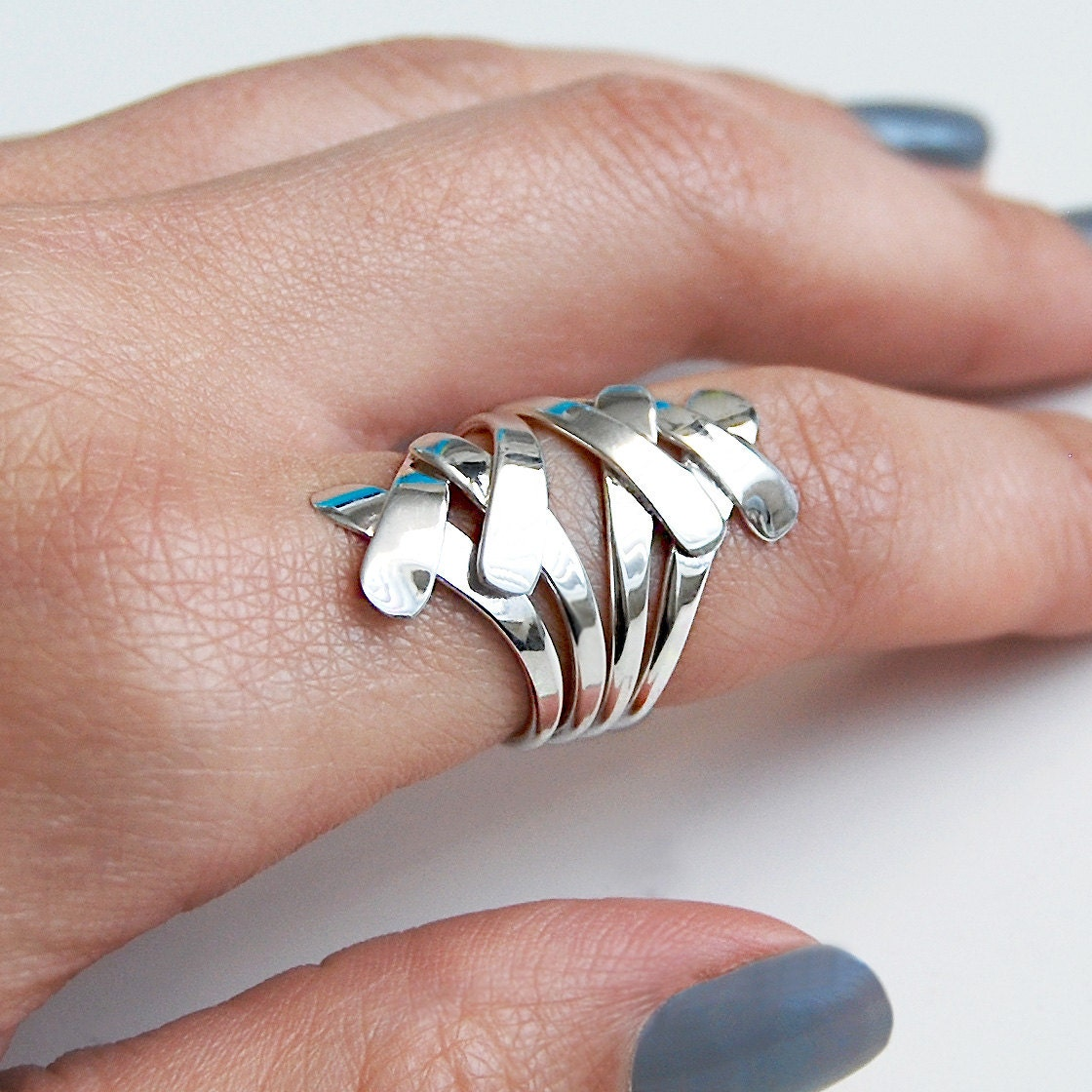 Sterling Silver Wire Ring Overlapping Ring-Flat Wire