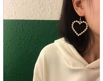 Gold Pearl Heart Korean Dangle Drop Earrings Jewelry Fashion