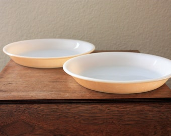 "Vintage Set of 2 Anchor Hocking, Fire King Peache Lustre 9 1/4"" Pie Plates"