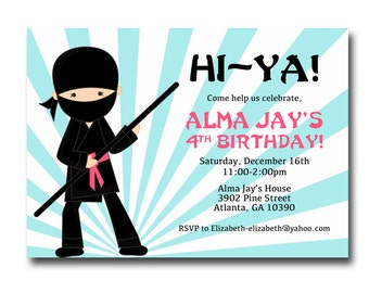 Printable Girl Ninja Birthday Invitation Girl Birthday Party Invite PDF file Karate Birthday Invitation Gymnastics Birthday Ninja Warrior