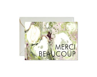 MERCI BEAUCOUP Green + Purple Notecards + Envelopes Pack | Boxed Set (8) | Abstract | Modern | Fresh