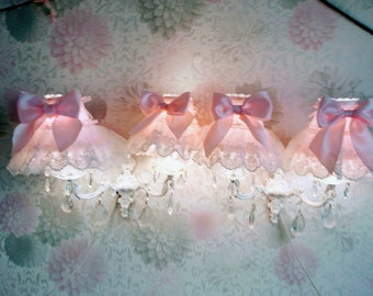 Pair d sconces candleholders and chandelier shabby chic