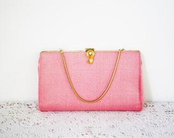 Vintage Pink Clutch Handbag Textured Cloth Gold Chain Evening Prom Wedding
