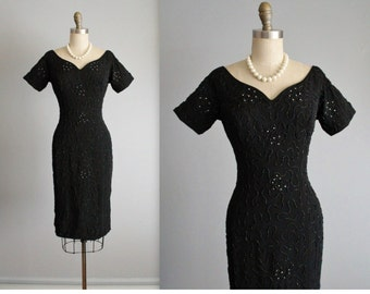 50's Beaded Dress // Vintage 1950's Black Beaded  Marilyn Monroe Cocktail Party Wiggle Dress S