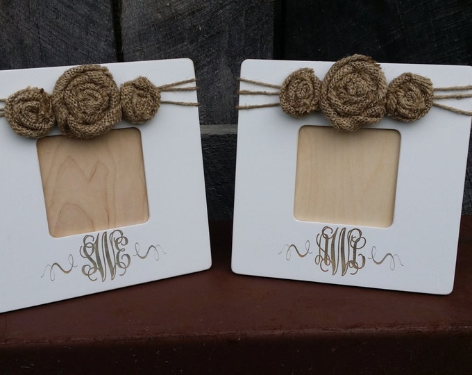 Set of Two - Monogram Picture Frames - Personalized Picture Frame - Custom Photo Frame - Shabby Chic Frame - Rustic Picture Frame