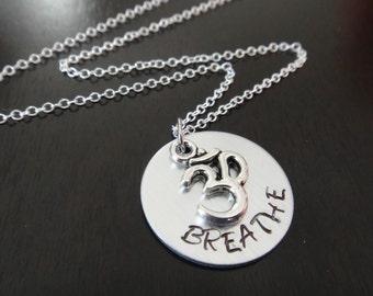Handstamped Om Yoga Breathe Necklace