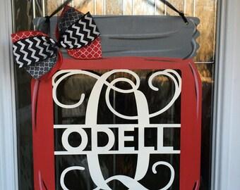 Mason jar door hanger, monogram door hanger, monogram mason jar door hanger, monogram door decor, personalized gifts, mason jar, monogram