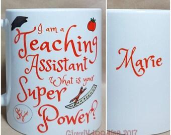 Teaching assistant mug, teaching assistant present, personalised mug, teacher gift, end of term teacher gift