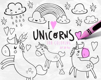 unicorn clipart vector set for coloring instant download unicorn party cute unicorn coloring sheet - Unicorn Coloring Sheet