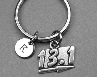 13.1 marathon keychain, marathon runner, half marathon charm, marathon distance keychain, personalized keychain, initial keychain, monogram