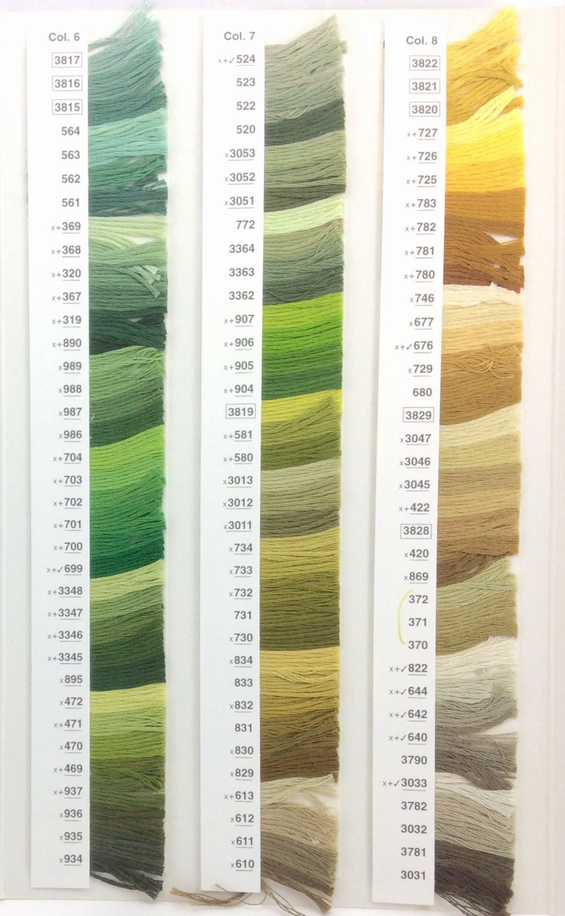 Yellows, Tans, Sienna: DMC Classic 6 Strand Embroidery Floss (100 ...