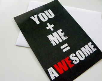 You Me Awesome Romantic Card Valentine Card Valentines Day Card Chalkboard Note Love Card