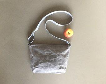 grey waxed canvas crossbody bag - waxed cotton bag - grey shoulder bag - sturdy minimal everyday bag - zipper closure messenger bag for him