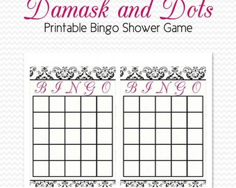 Damask Bridal Shower, Bingo Cards, Shower Game, Black and White, Hot Pink, Damask and Dots -- Printable, Instant Download