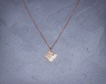 Solid 14K Rose Gold Square Necklace  Handmade hammered solid 14k rose gold 10mm square pendant necklace