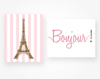 pink and gold glitter eiffel tower printable french wall decor, eiffel tower download glitter wall art set of 2 print bonjour sign printable