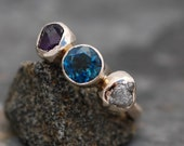 Conflict-Free Rough Diamond and Coloured Gemstone Ring- Made to Order Multi-Stone Ring in 14k/18k Gold or Platinum