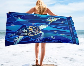 Batik Inspired Endangered Species Beach Towels featuring Jungle Animals and Hawksbill Sea Turtle