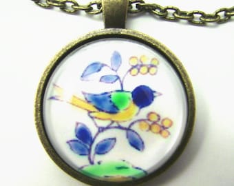 SWALLOW WITH BERRIES Necklace -- Friendship / good luck token, Spanish tile, Autumn fruit, For bird and nature lovers