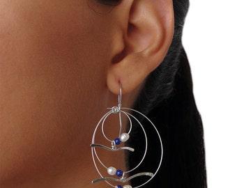 Bird earrings, statement jewelry, statement earrings, bird jewelry, big dangle drop earrings, long hypoallergenic earrings, unusual earrings