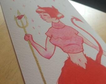 """Horny Little Devil - 4.5×7.5"""" - Giclee Print"""