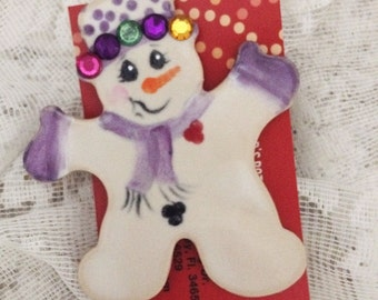 Handmade clay pin, snazzy snowman.