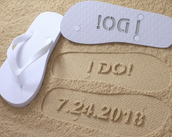 I DO Flip Flops Wedding Date *check size chart, see 3rd product photo*
