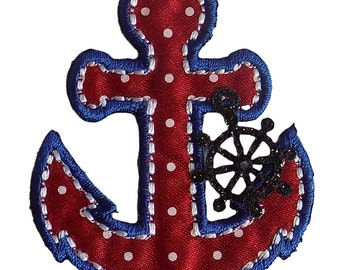 Anchor With Ships Wheel Charm Embroidered Iron On Applique
