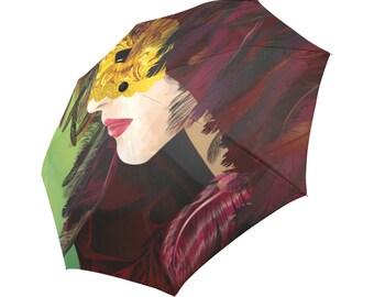Art Umbrella Mask Umbrella Designed Umbrella Venetian Mask Pattern Umbrella Art Umbrella Automatic Foldable Umbrella Cool Umbrella