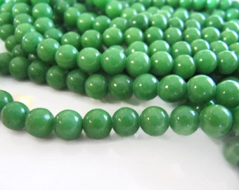 6mm Mashan JADE Beads in Light Green, Round, Smooth, 69 Pcs, Full Strand, Dyed, Candy Jade, Mountain Jade, Dolomite Marble