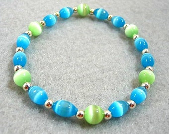 Neon Blue and Brilliant Green Beaded Stretch Bracelet, Mystical Glowing Bead Jewelry