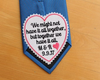 """GROOM Tie Patch, together we have it all, tie label - 3"""" wide, Beautiful Tie Patches. Groom Gift from Bride, heart patch, personalized S9"""