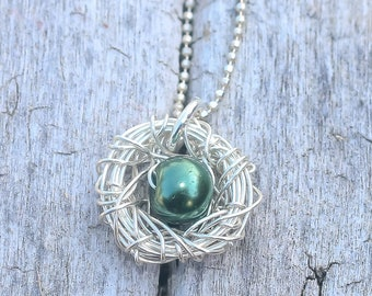 bird nest necklace ~ sterling silver ~ 1 green bead