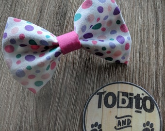 Multi color pastel dots dog bow tie// made to order