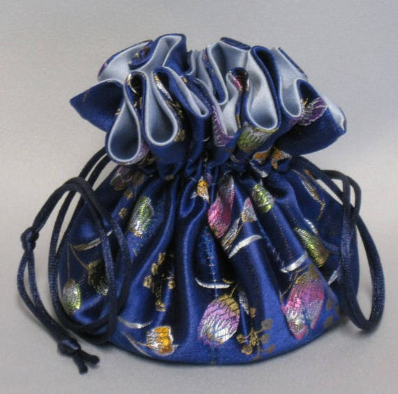 Jewelry Drawstring Travel Tote---Organizer Pouch---Royal Blue Floral Satin Brocade---Regular Size