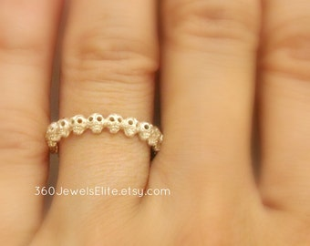 Tiny Gothic Skull Eternity Stack Ring, Silver, Wedding Promise Anniversary Band, Customizable