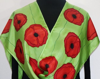 Red Poppies Silk Scarf in Green. Hand Painted Silk Shawl DANCING POPPIES, Silk Scarves Colorado. Select Your SIZE! Birthday, Christmas Gift