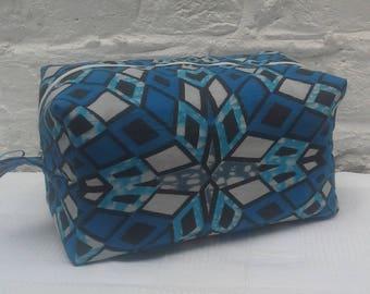 Men's Toiletry Bag Blue Diamond Box Pouch Travel Storage Bag