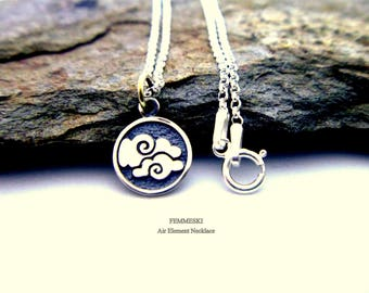 Element necklace etsy air element necklace 925 sterling silver air charm necklace four elements jewelry air urtaz Images