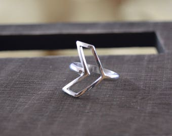 Sideways Chevron Silver Ring