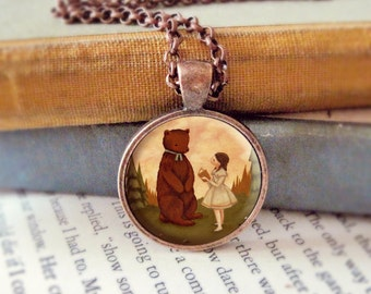 Bear Necklace, Bear Pendant, Bear Jewelry, Bear Animal Necklace, Animal Art, Animal Jewelry, Kids Jewelry Children - A Story For Mr Bear