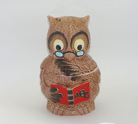 Vintage Japan Wise Owl Cookie Jar With ABC Book Professor