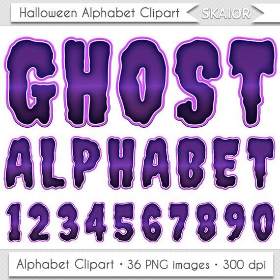Halloween Alphabet Clipart Purple Letters Clipart Halloween