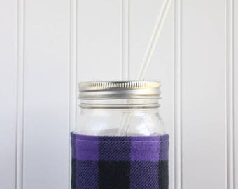 Purple & Black Buffalo Check Flannel Mason Jar Sleeve - for PINT size Mason Jar (16 oz)
