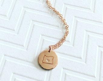 Rose Gold Oregon Necklace - State Necklace - Home Necklace - Hand Stamped Necklace - Gift For Her - Rose Gold Necklace - Gift For Her