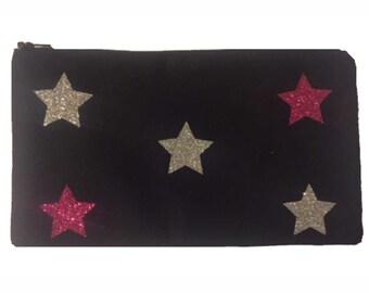 Cosmetic Bag, Pencil Bag, Glitter Stars Bag, Canvas Bag, Small Purse, Canvas Purse Bag