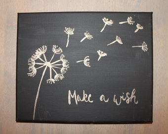 Make a Wish // 8x10 Hand Lettered Canvas